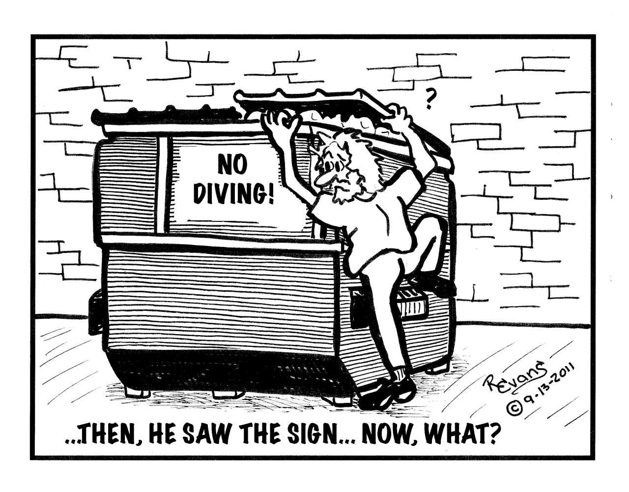 Dumpster Diving Cartoon Dumpster diving has become a